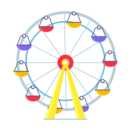 Colorful Vector Poster of Ferris Wheel on White