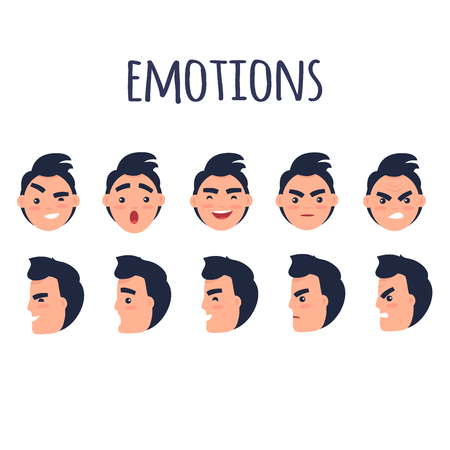 Man Faces with Different Emotions Flat Vector Set