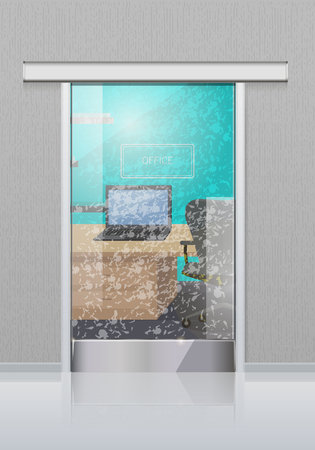 Transparent Office Glass Door to Study with Laptop Çizim