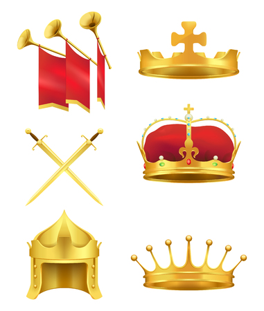 Golden Medieval Symbols Realistic Vector Icons Set