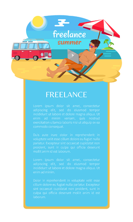 Freelance Summer Man and Text Vector Illustration Ilustrace