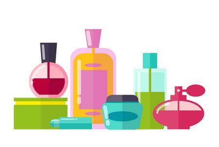 Perfumery Collection Bottles Vector Illustration