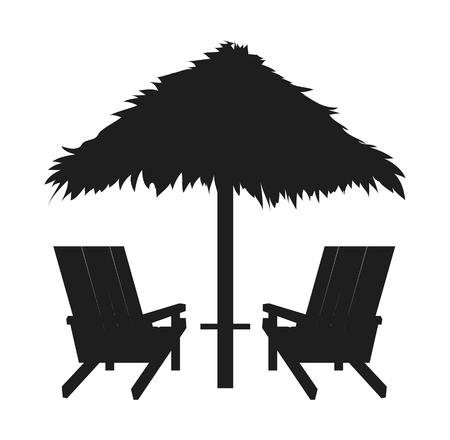 Loungers with Straw Umbrella, Abstract Silhouette  イラスト・ベクター素材