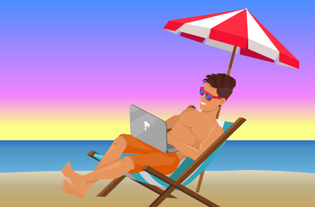 Joyful Man with Laptop on Beautiful Evening Beach