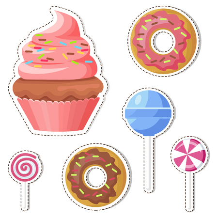 Cartoon Sweets Vector Stickers or Icons Set Stock fotó