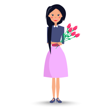 Young Woman with Bouquet of Roses Illustration