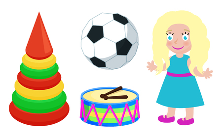 Football Ball and Doll Toys Vector Illustration