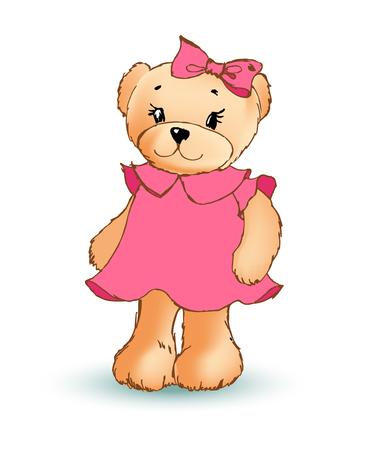 Modest Female Teddy Bear, Vector Illustration