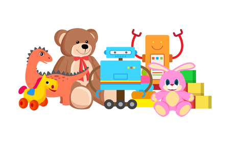 Robots and Horse Collection Vector Illustration Stock Photo