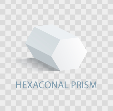 Hexaconal prism geometric figure in white color that casts shape. Three-dimensional shape with side in form of hexagon isolated vector illustration on transparent background
