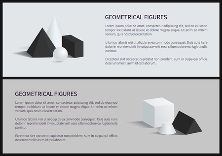 Geometrical figures set banner, text sample and lettering, blunted cone and cube, square pyramid, geometrical figures, isolated on vector illustration Illustration