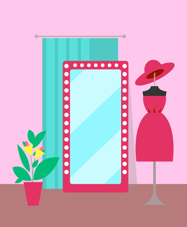 Clothing store, dress and plant, poster with mannequin and dress with hat, mirror and pot with flower and leaves, isolated on vector illustration