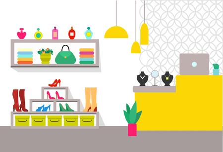 Bekleidungsgeschäft und Einzelteile, Zähler mit Laptop und Schmuck, Tasche und Parfümerie, Schuhe und Pflanze, Spiegel und Regale, lokalisiert auf Vektorillustration