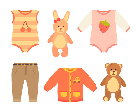 Baby clothes and set of toys, jumpers with prints of berries, teddy bear and rabbit, pants and baby clothes, vector illustration isolated on white Illustration