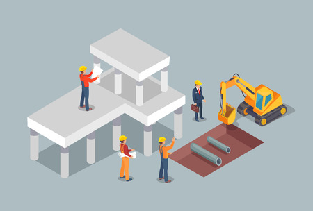 Building process, colorful vector illustration, abstract building site, excavator and various workers, new building carcass, construction management Illustration