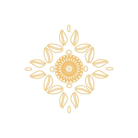 Watermark on certificate seal design in golden colors vector illustration guarantee stamp logo with leaves and circles isolated on white background