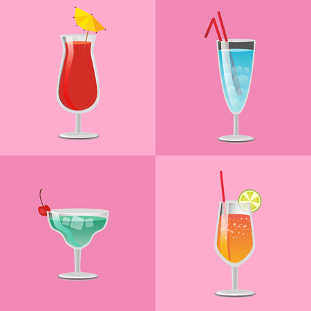 Set of summer cocktails vodka with juice,  tasty margarita and tropical pleasure refreshing alcohol cocktails decorated by straw vector Фото со стока - 102436177