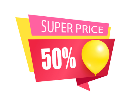 Super price fifty percent discount sale tag with inflatable helium balloon, sale best price color sticker with shiny glossy balloon, promo label emblem