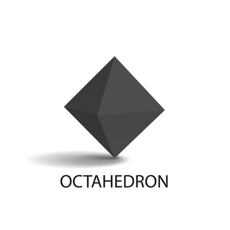 Octahedron geometric shape with sides, headline and image with shade above, three dimensional form vector illustration isolated on white background