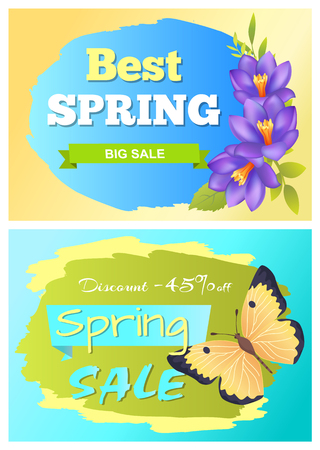 Best spring big sale advertisement labels crocus purple flowers and yellow butterfly vector illustration stickers set. Emblems with blossom of plants Stock Illustratie