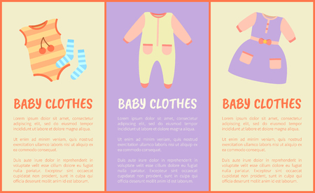 Baby clothes and text sample with headlines, baby clothes collection, dress and jumpers with socks with stripes print, isolated on vector illustration