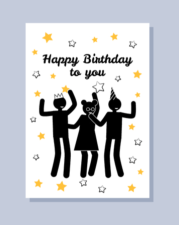 Happy birthday to you greeting poster dancing people at corporate party silhouettes vector illustration of birthday card with people isolated on stars