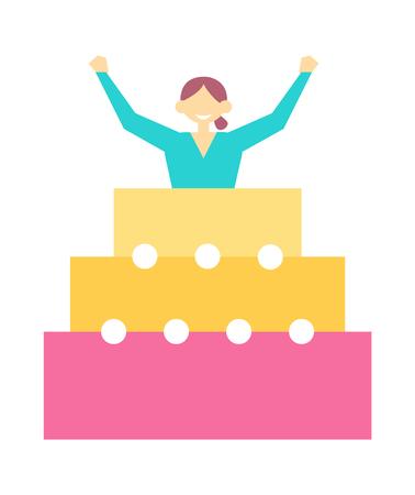 Woman jump out from birthday cake on birthday party, pretty woman with hands up in big cake vector illustration of positive girl in pie isolated on white