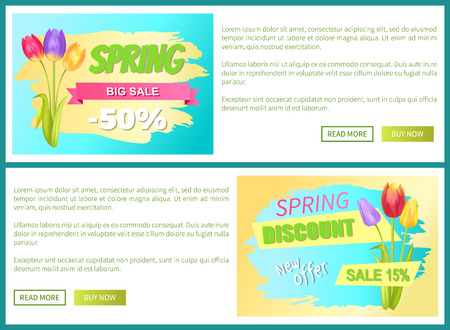 Best discount 50 off advertisement stickers colorful bouquets three tulips vector illustration spring collection sale web posters with push buttons