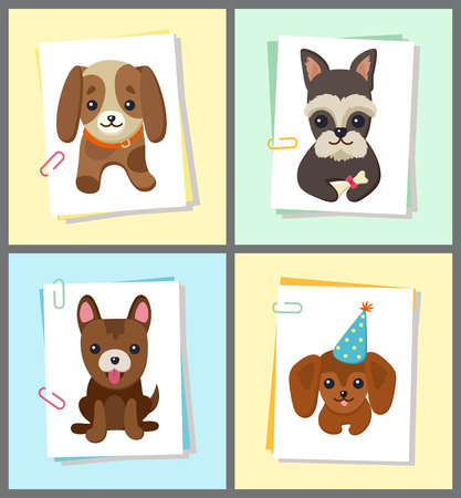 Puppies and dogs poster set, collection of pets pictures, creatures of different breeds and colors, in cap and bows, isolated on vector illustration. Dog on a piece of paper clamped with a paper clip