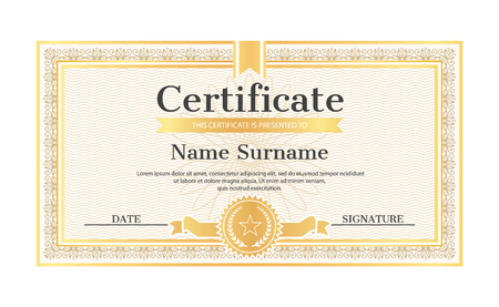 Certificate template editable name and surname, date and signature, realistic certificate sample in golden frame, water marks and seal with star vector