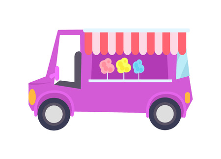 Pretty lilac car-shop with sweet cotton candy, color vector illustration isolated on white background, mobile sweets shop with cute striped curtain Illustration