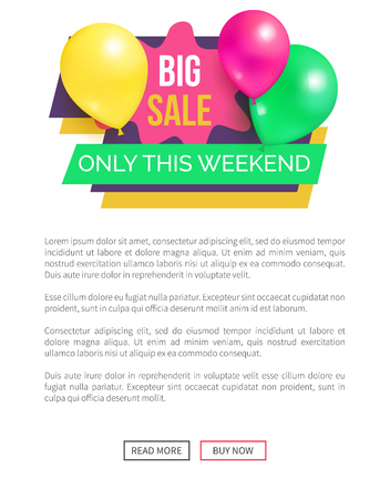 Big sale only this weekend hot prices promo sticker balloons and brush splashes web online poster, label emblem tag with balloon in marketing concept