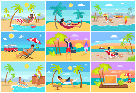 Freelancers work on laptops at tropical resorts. Freelance workers on sandy beach near sea do their job and relax in summer vector illustrations set. Иллюстрация