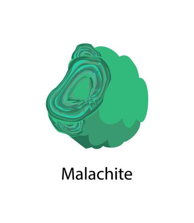 Malachiet kopercarbonaat hydroxide mineraal, ondoorzichtig, groen gestreepte mineraal kristalliseert in het monokliene kristalsysteem vector malachiet geïsoleerd
