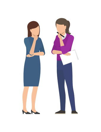 Two women discussing business plan, two business ladies speaking about startup project isolated on white background. Management and teamwork concept Illustration