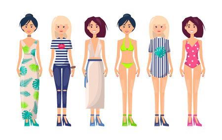New Summer Collection of Clothing Item Fashionable Ilustración de vector