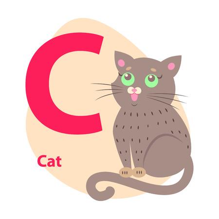 Zoo ABC Letter con Vector de dibujos animados lindo gato