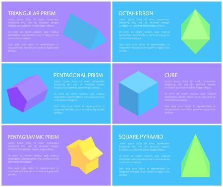Pentagrammic Pentagonal and Triangular Prisms Set