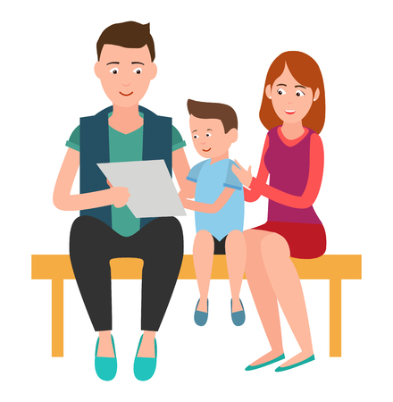 Family Mother Father and Son Sits on Bench List Stock Photo