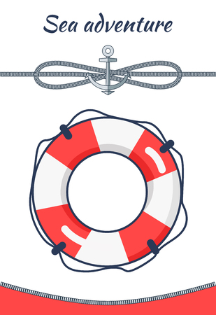 Sea Adventure Poster Lifebuoy Vector Illustration
