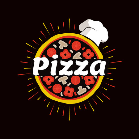 Pizza Restaurant Promotional Emblem with Chef Hat Stock Photo