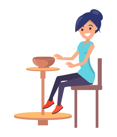 Cute Woman Creating a Clay Bowl, Vector Poster