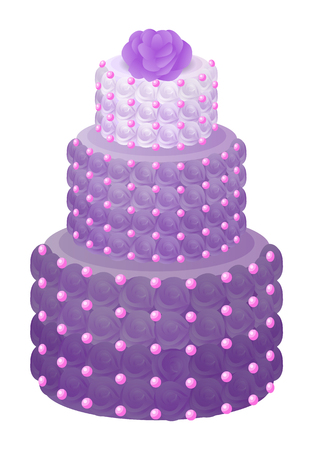 Cake of Purple Color with Rose Vector Illustration Banco de Imagens - 102565652