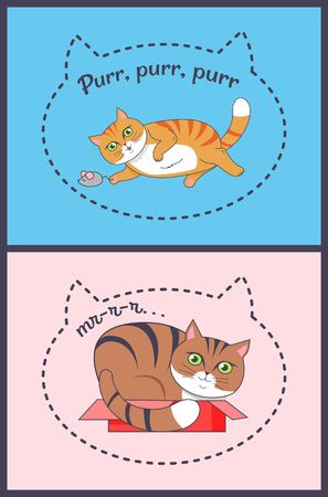 Two Posters with Nice Cats Vector Illustration Ilustração