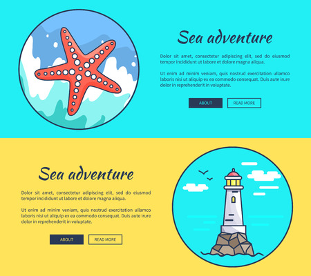 Set of Banners Dedicated to Sea Adventures