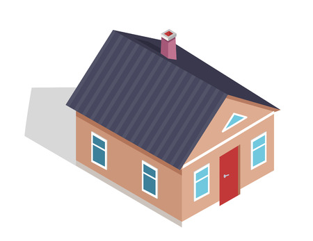 Side View on Three Dimensional Cottage House  イラスト・ベクター素材