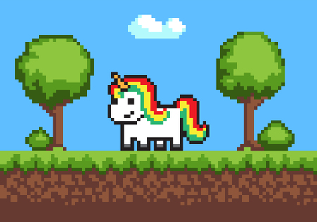Cheerful Pixel Poney Horse on Cute Green Meadow Illustration