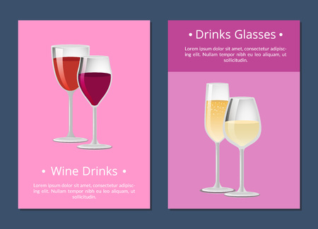 Red and White Wine in four Glasses Color Banner
