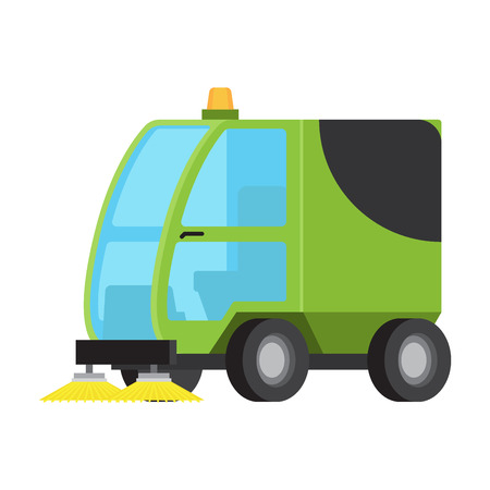 Road Sweeping Machine Isolated Flat Vector Icon