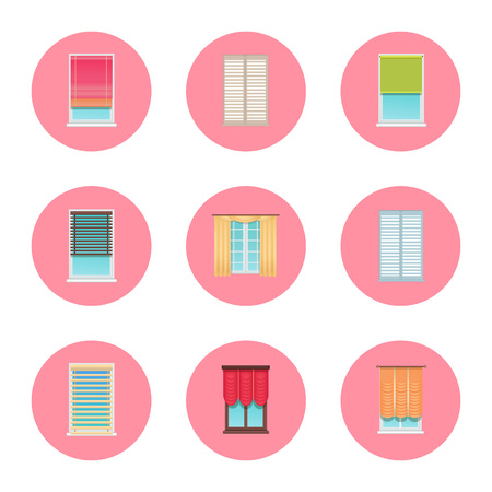 Windows and Curtains Set, Vector Illustration